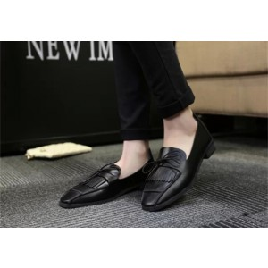 Black Square Toe Commuting Comfortable Flats for Office Lady