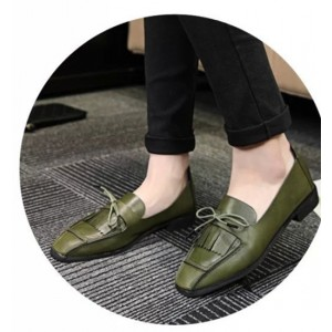 Women's Green Bow Tassels Square Toe Vintage Flats
