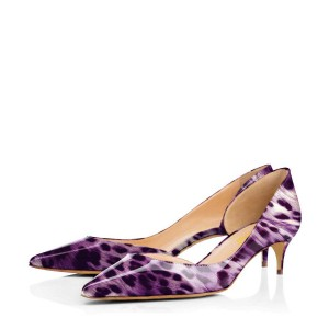 Viola Purple Leopard-print Kitten Heel Dorsay Pumps