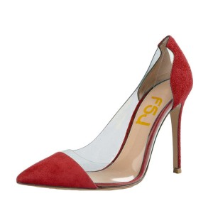 Women's Red Leather Pointed Toe Stiletto Heel Clear Pumps