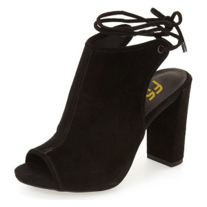 Leila Black Chunky Heel Open Toe Boots Slingback Summer Ankle Booties