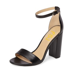 Black Ankle Strap Sandals Open Toe Block Heels for Office Ladies