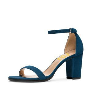 Navy Ankle Strap Sandals Suede Open Toe Block Heels