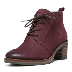 Women's Maroon Chunky Heel Boots Lace-up Hiking Vintage Shoes