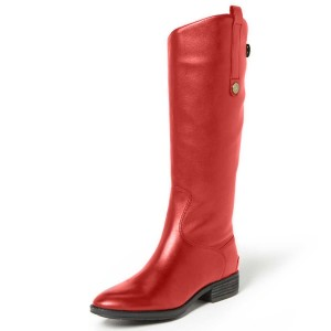 Coral Red Inclined Side Buckle Boots