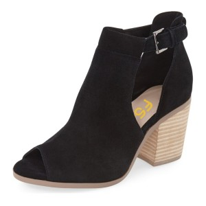 FSJ Black Cut Out Boots Suede Wooden Block Heel Peep Toe Ankle Boots