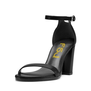Block Heel Sandals Black Ankle Strap Open Toe Heels