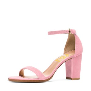 Women's Pink Block Heel Sandals Suede Ankle Strap Heels by FSJ Shoes