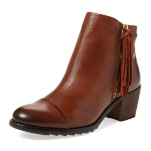 Doris Brown Tassels Side Zipper Vintage Boots