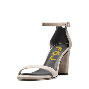 Women's Grey Ankle Strap Sandals Suede Open Toe Block Heels