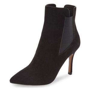 Leila Black Stiletto Heel Work Ankle Boots
