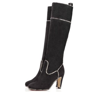 Women's Black Suede Long Chunky Heel Boots