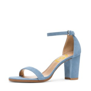 Blue Ankle Strap Sandals Suede Chunky Heel Sandals