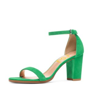 Green Ankle Strap Sandals Open Toe Suede Block Heels