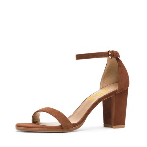 Women's Brown Open Toe Chunky Heel  Ankle Strap Sandals