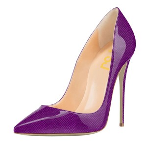 FSJ Purple Stiletto Heels Patent Leather Pointy Toe Pumps for Women