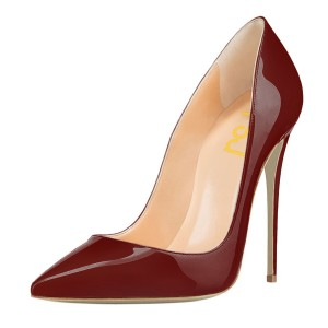 Women's Maroon Patent Leather Pointed Toe Stiletto Heel Pumps 4 Inch Heels
