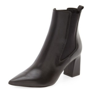 Black Chunky Heels Ankle Booties Pointy Toe Vintage Shoes for Women