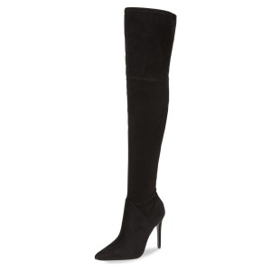 Women's Black Stiletto Boots Pointy Toe Suede Sexy Thigh High Boots