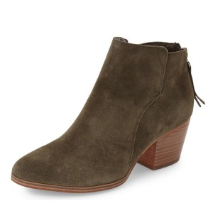 Dark Green Suede Vintage Boots Block Heel Ankle Booties