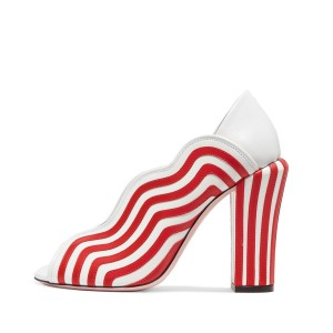 Red and White Stripes Chunky Heels Peep Toe Pumps
