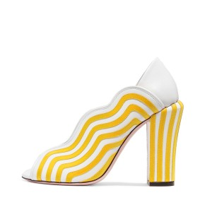 Women's Yellow&White Stripes Chunky Heel Pumps