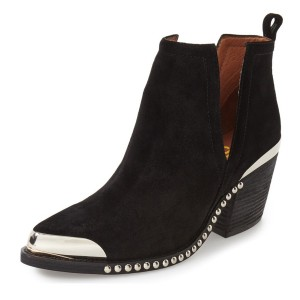 Women's Black Chunky Heel Boots Slip-on Metal Pointy Toe Studded Ankle Booties