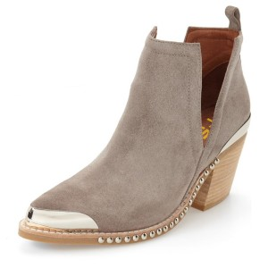 Taupe Cut Out Boots Suede Metal Pointy Toe Studs Short Boots