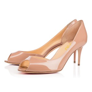 Blush Heels Peep Toe Patent Leather Kitten Heels Pumps