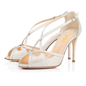 Champagne Glitter Shoes Crisscross Strap Peep Toe Heeled Sandals