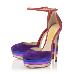 Multi-color Ankle Strap Heels Suede Platform Sandals High Heel Shoes