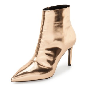 Bright Golden Internal Zip Stiletto Heel Ankle Boots
