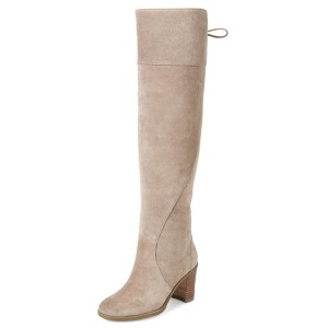 Beige Suede Long Boots Round Toe Back Lace up Chunky Heel Knee Boots