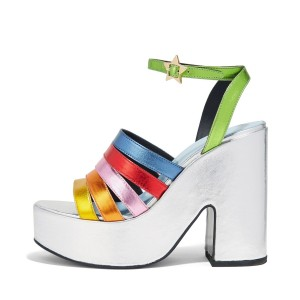 Women's White Colorful Chunky Heels Ankle Strap Sandals