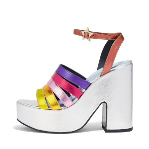 Rainbow Sandals Ankle Strap Colorful Chunky Heels with Platform