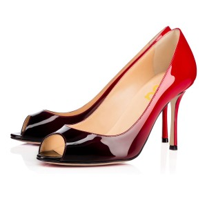 On Sale Red Ombre Peep Toe Heels Patent Leather Pumps