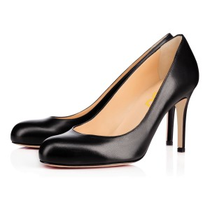 Women's Leila Black Leather Round Toe Stiletto 3 Inch Heels Pumps