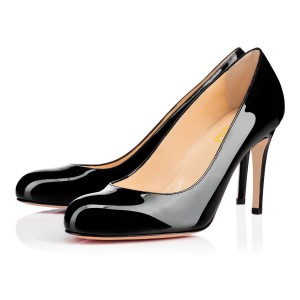 Black Dress Shoes Round Toe Patent Leather Stilettos Heels For Office Lady