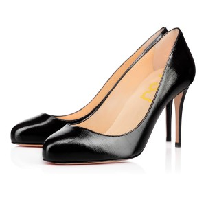On Sale Black Office Heels Round Toe Women's Formal Shoes