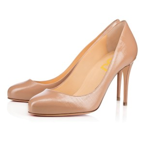 Blush Dress Shoes Round Toe Stiletto Heels Pumps for Women