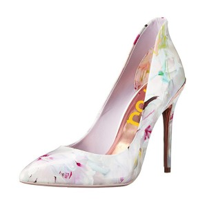 Women's White Spring Floral Printed Pencil Heel Pumps Dress Shoes