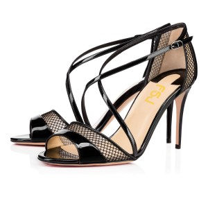 Women's Black Mesh Cross-Over Strappy Stiletto Heels Sandals