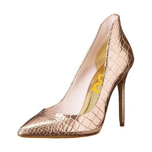 Champagne Stiletto Heels Pointy Toe Python Pumps by FSJ