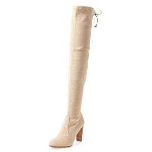 Beige Suede Long Boots Chunky Heel Thigh-high Boots