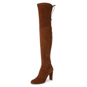 Maroon Over-The-Knee Round-Toe Boots