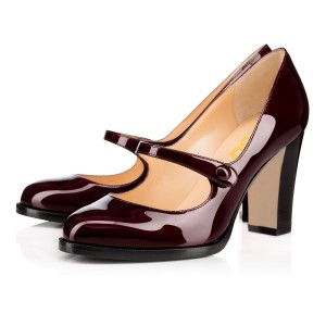 Burgundy Mary Jane Pumps Vintage Chunky Heels
