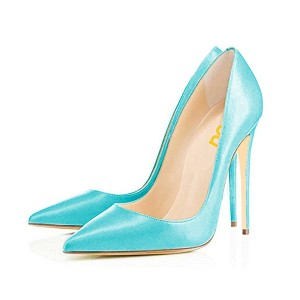 FSJ Aqua Office Heels Pointy Toe Stiletto Heel Vegan Dressy Pumps