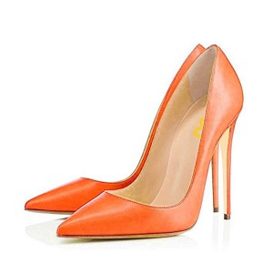 Women's Orange Leather Commuting Vintage Pumps