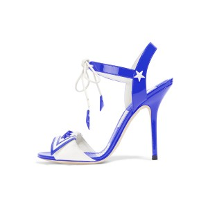 Women's Blue Chic Star Stiletto Heel Ankle Strap Sandals