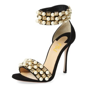 Golden and White Pearl Decorated Stiletto Heel Bridesmaid Sandals for Wedding